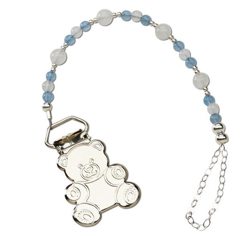 Alec Teddy Bear Sterling Pacifier Clip