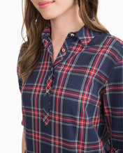 Load image into Gallery viewer, Nautical Navy Alyssa Shirtdress Plantation Plaid