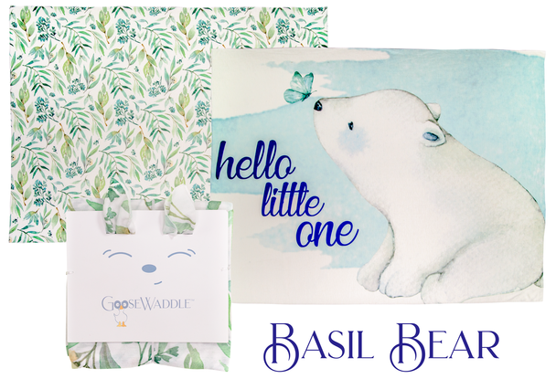 Basil Bear & Leaves 2Pk GooseWaddle Receiving Blankets