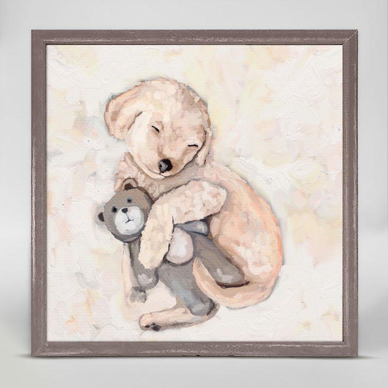 Best Friend Puppy & Bear Mini Framed Canvas