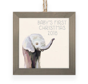 Green Baby Elephant Wooden Framed Ornament