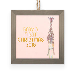 Pink Holiday Baby Giraffe Wooden Framed Ornament