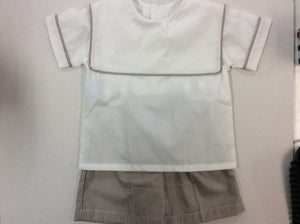 Brown and White Pinstripe Short Set 24M