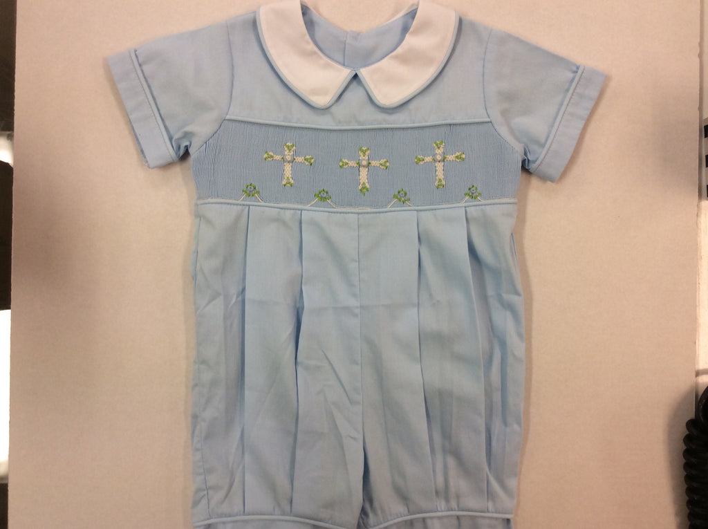 Blue Smocked Cross Romper 18M