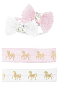 Pink Unicorn Hair Ties & Bows