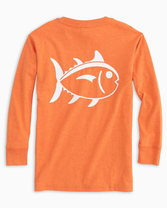 Heather Papaya Orange LS Outline SkipJack T