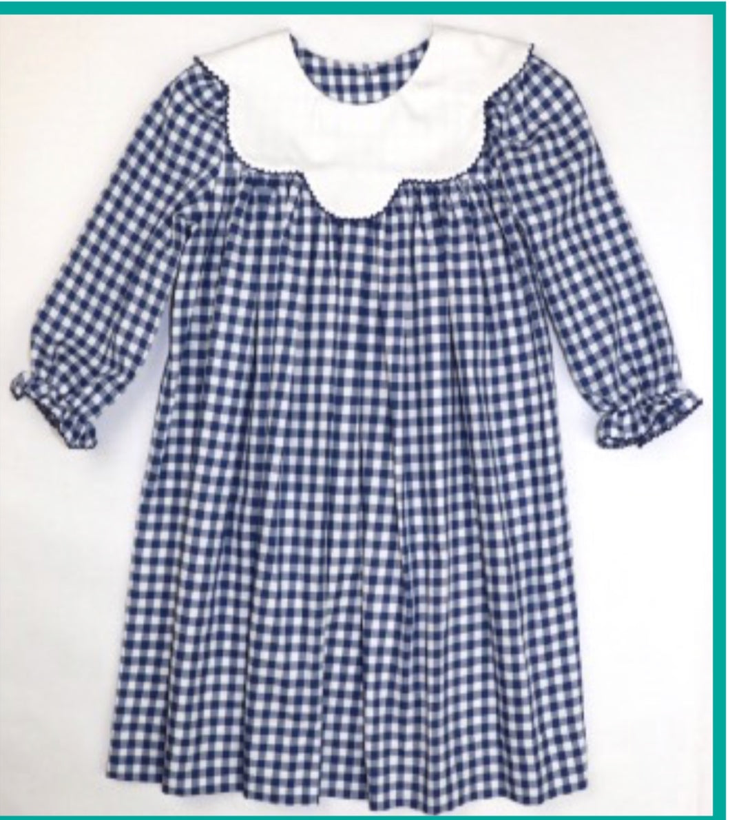 Navy & White Scallop Collar Dress