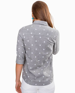 Dynamic Grey Emery Button Front Dot Shirt