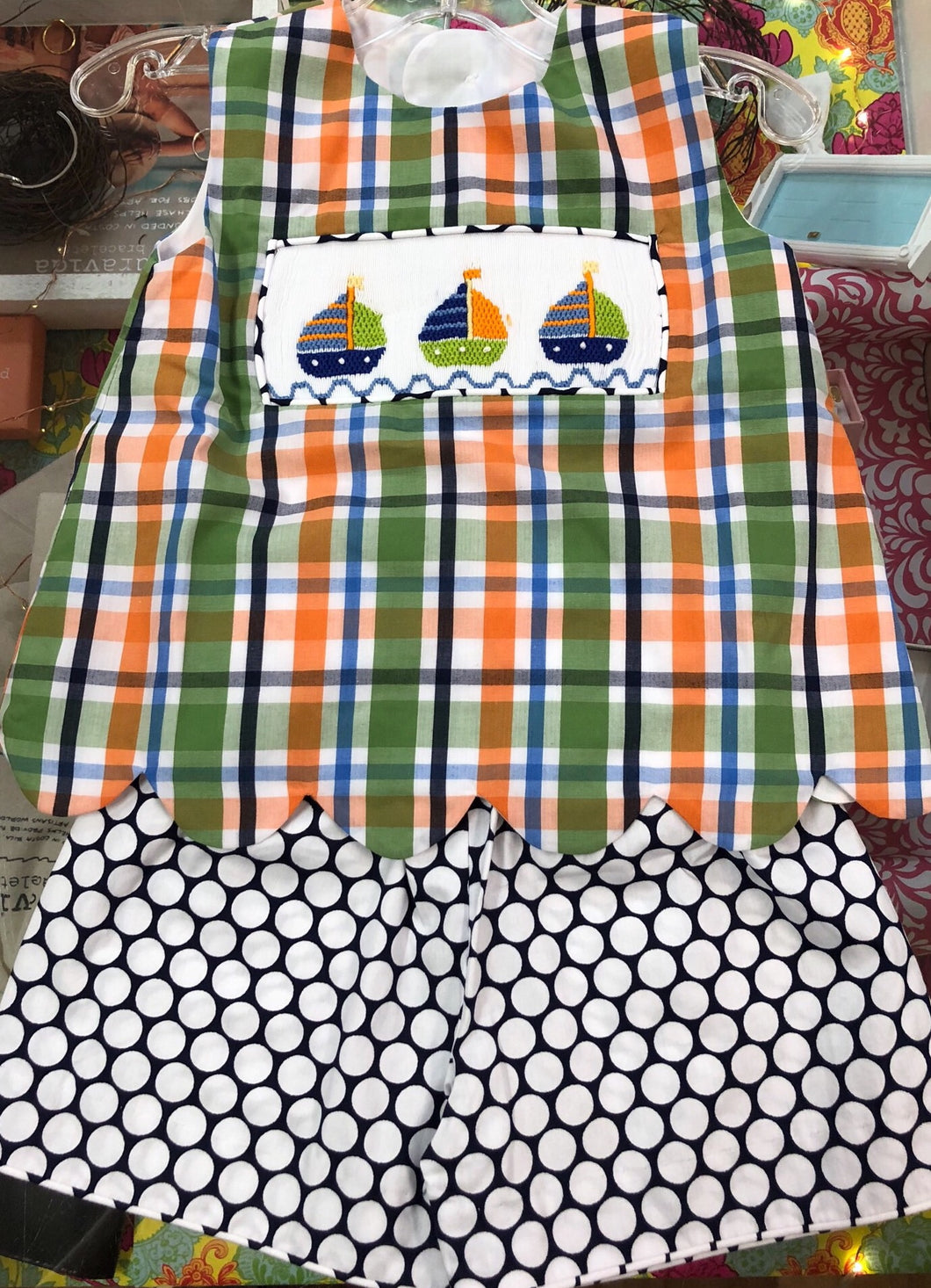 Sailboat Smocked Scallop Set