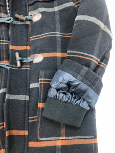 Plaid Toggle Trench Coat