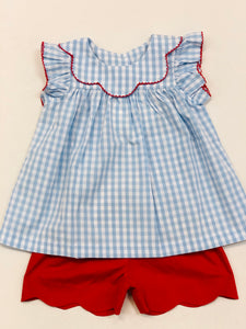 Blue Gingham Bow Back Scallop Set