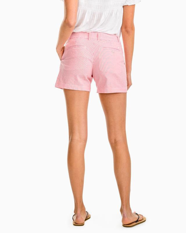 Coral Beach Seersucker Caroline 5in Short