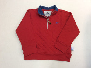 Red Quilted 1/4 Zip Pullover