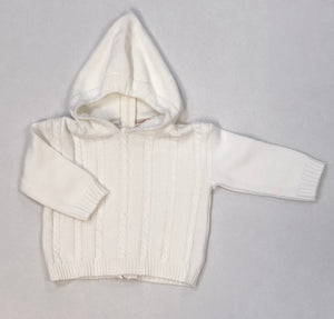Cream Cable Hooded Zipper Back Sweater