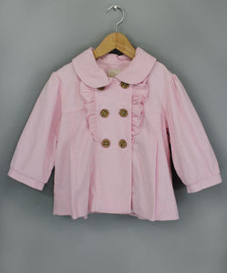 Pink Double Breasted Ruffle Coat
