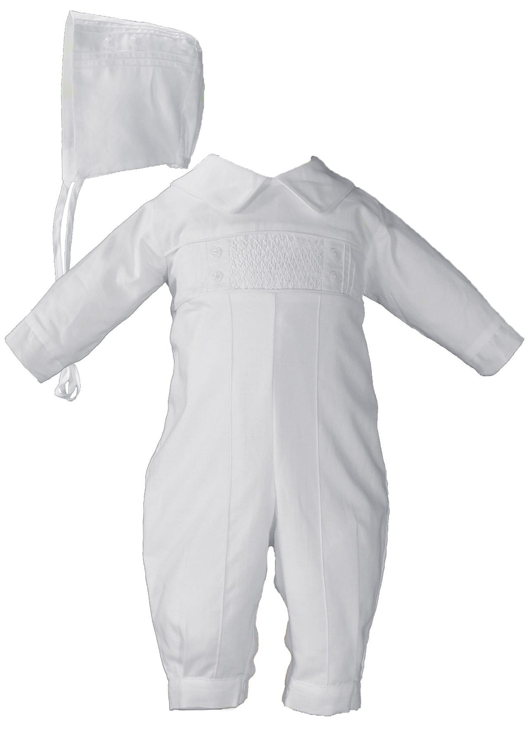 Hand Smocked Boys Pin Tucked Christening Baptism Coverall
