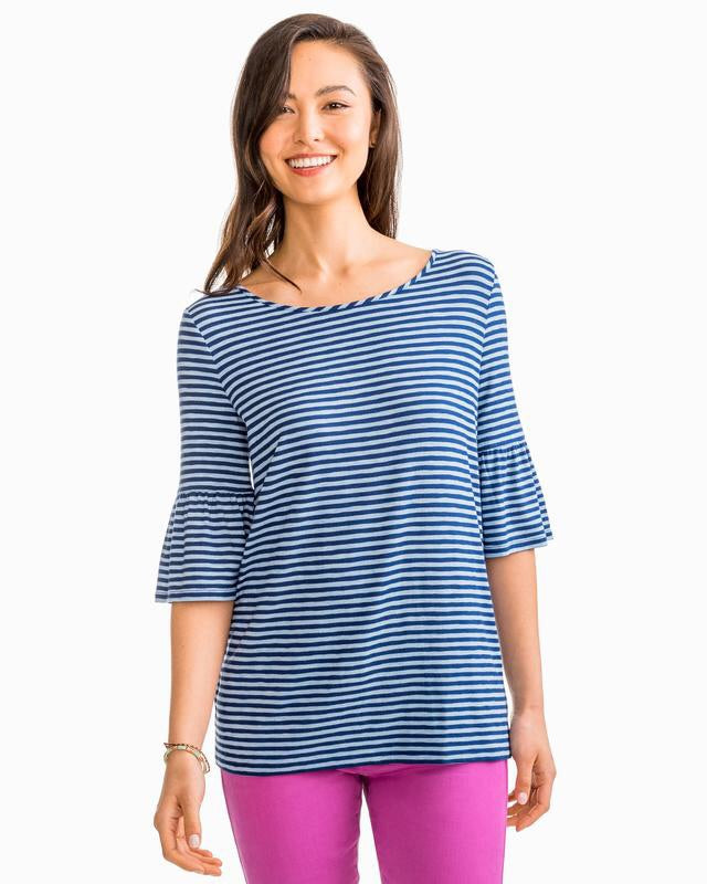 Ruffle Stripe Heather Fore Knit Top