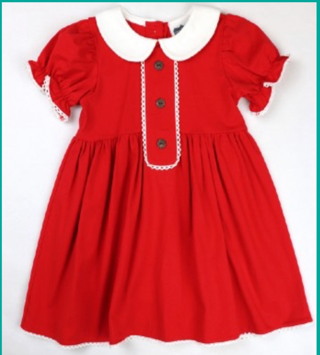 Red Knit Button Dress
