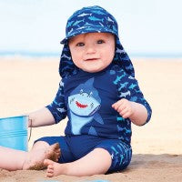Load image into Gallery viewer, Shark 1PC Sunsuit