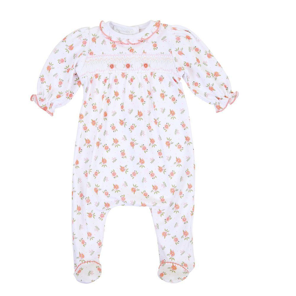 Autumn's Classics Smocked Footie and Ruffle Hat Set