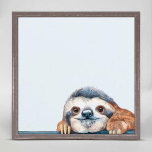Peeking Sloth Mini Framed Canvas