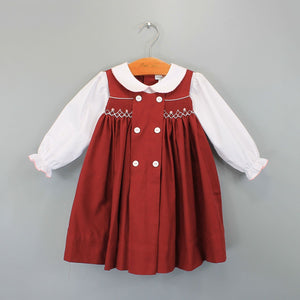 Burgundy Smocked Dress w/Buttons