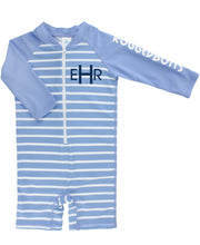 Load image into Gallery viewer, Cornflower Blue Stripe One Piece Rash Guard