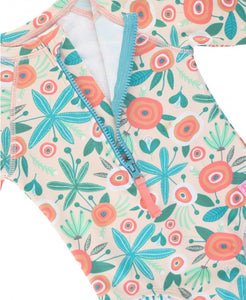 Girls Seaside Floral Long Sleeve One Piece Rash Guard