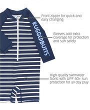 Load image into Gallery viewer, Navy Stripe Long Sleeve One Piece Rash Guard