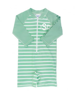 Sage Stripe Long Sleeve One Piece Rash Guard