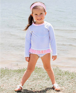 Periwinkle Blue Seersucker Long Sleeve Rash Guard Bikini
