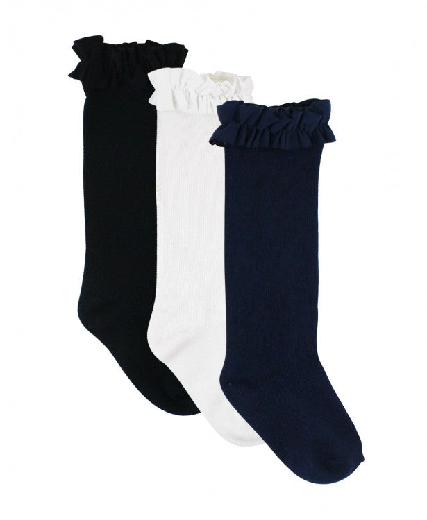 White, Navy, Black 3PK Knee High Socks