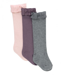 Ballet Pink, Shadow Purple, Charcoal Knee High 3-Pack