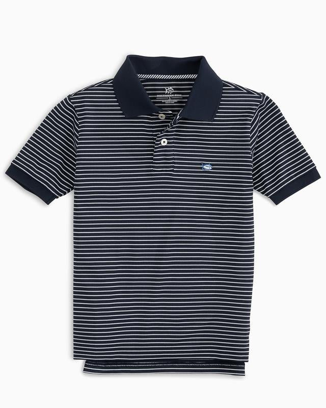 True Navy Sunfish Stripe Jack Performance Polo