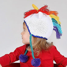 Load image into Gallery viewer, Rainbow Unicorn Crochet Earflap Beanie Hat
