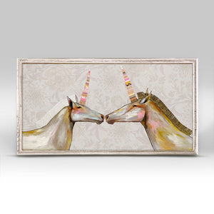 Unicorns with Patterned Horns Floral Fantasy Mini Framed Canvas