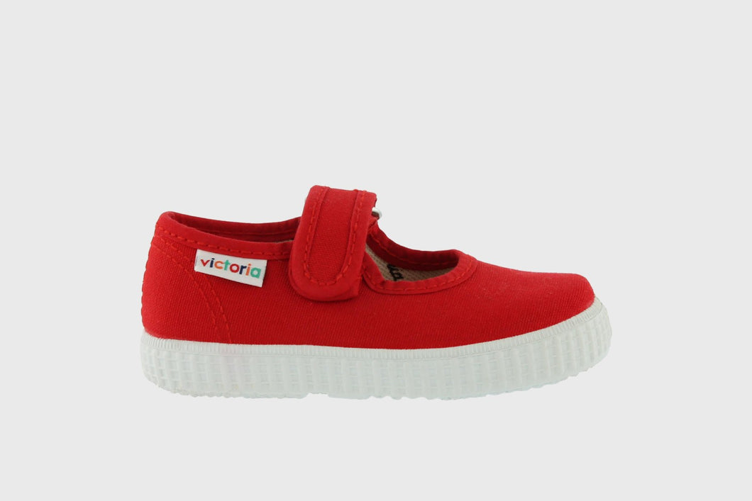 Lona Red Canvas Velcro Mary Janes