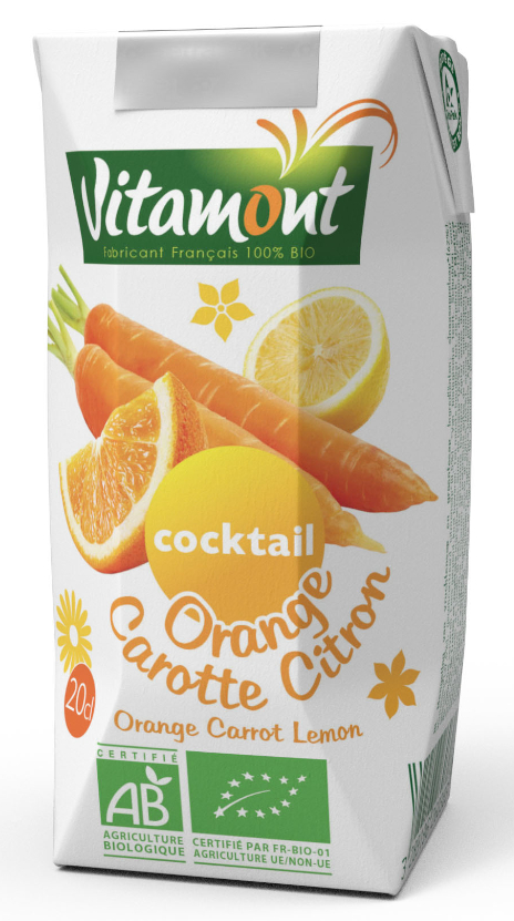 Jus d'orange, carotte, citron Bio (20cl) | Vitamont