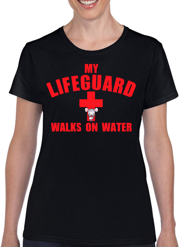 Little Church Mouse My Lifeguard Walks On Water T-Shirt - The Official Aunty Acid Store