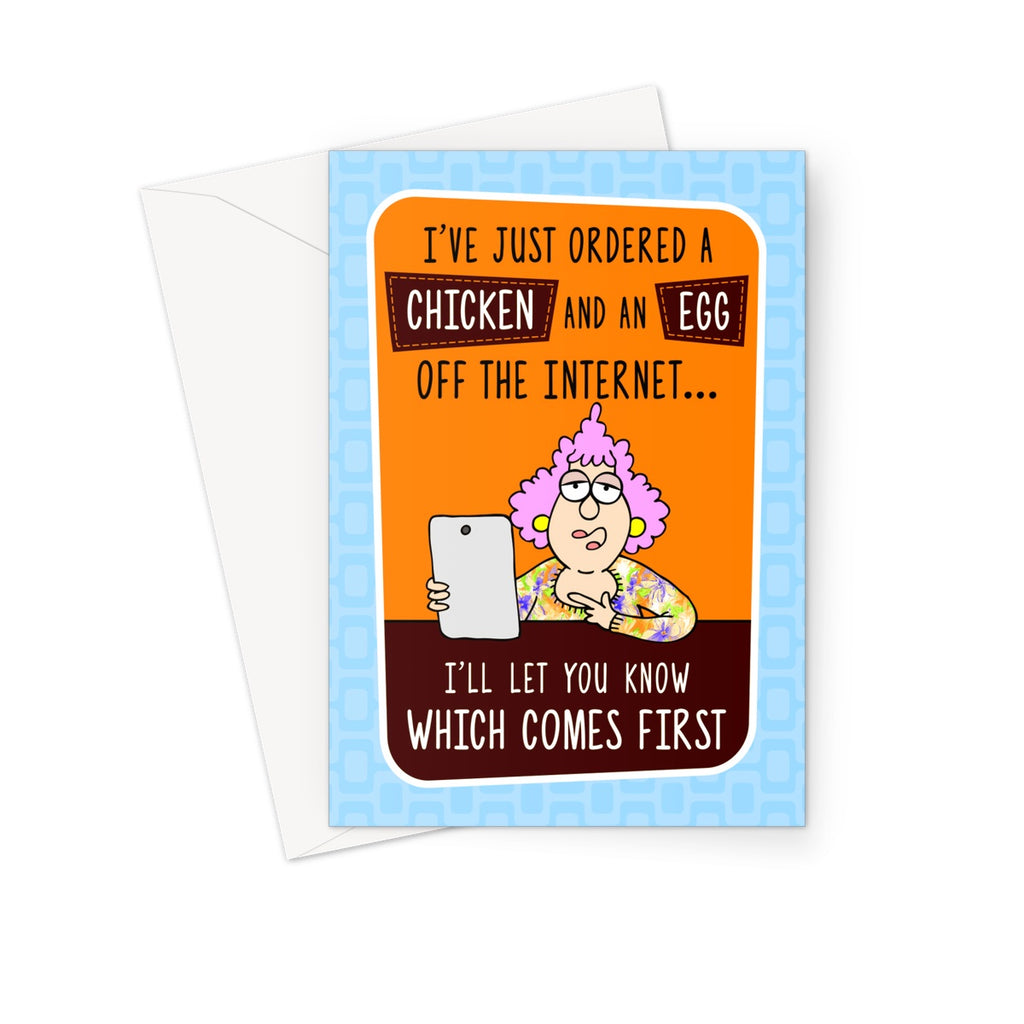 Chicken and Egg Greeting Card - The Official Aunty Acid Store