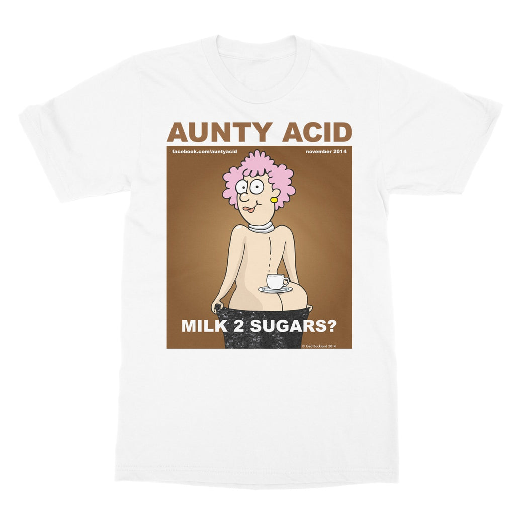 Aunty Acid Milk 2 Sugars Softstyle T-Shirt - The Official Aunty Acid Store