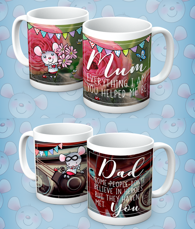 Little Church Mouse Mommy & Daddy Mugs, Set of 2 - The Official Aunty Acid Store