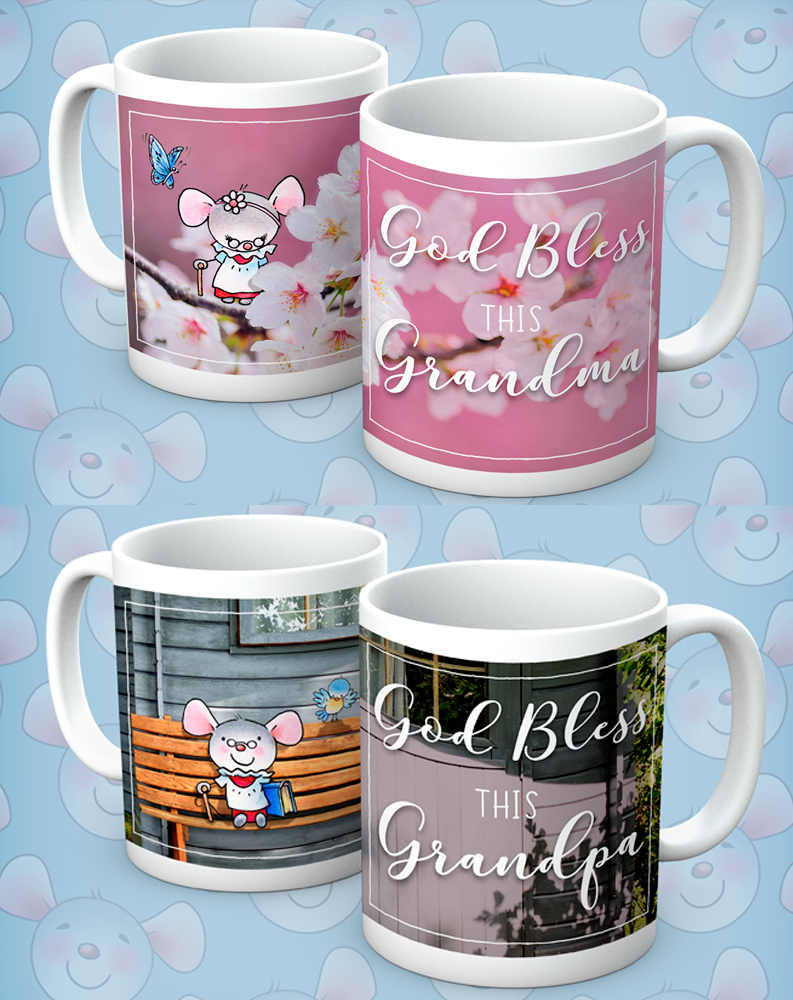 Little Church Mouse Grandma & Grandpa Mugs, Set of 2 - The Official Aunty Acid Store