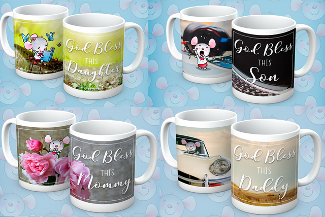 Little Church Mouse Family Mugs, Set of 4 - The Official Aunty Acid Store