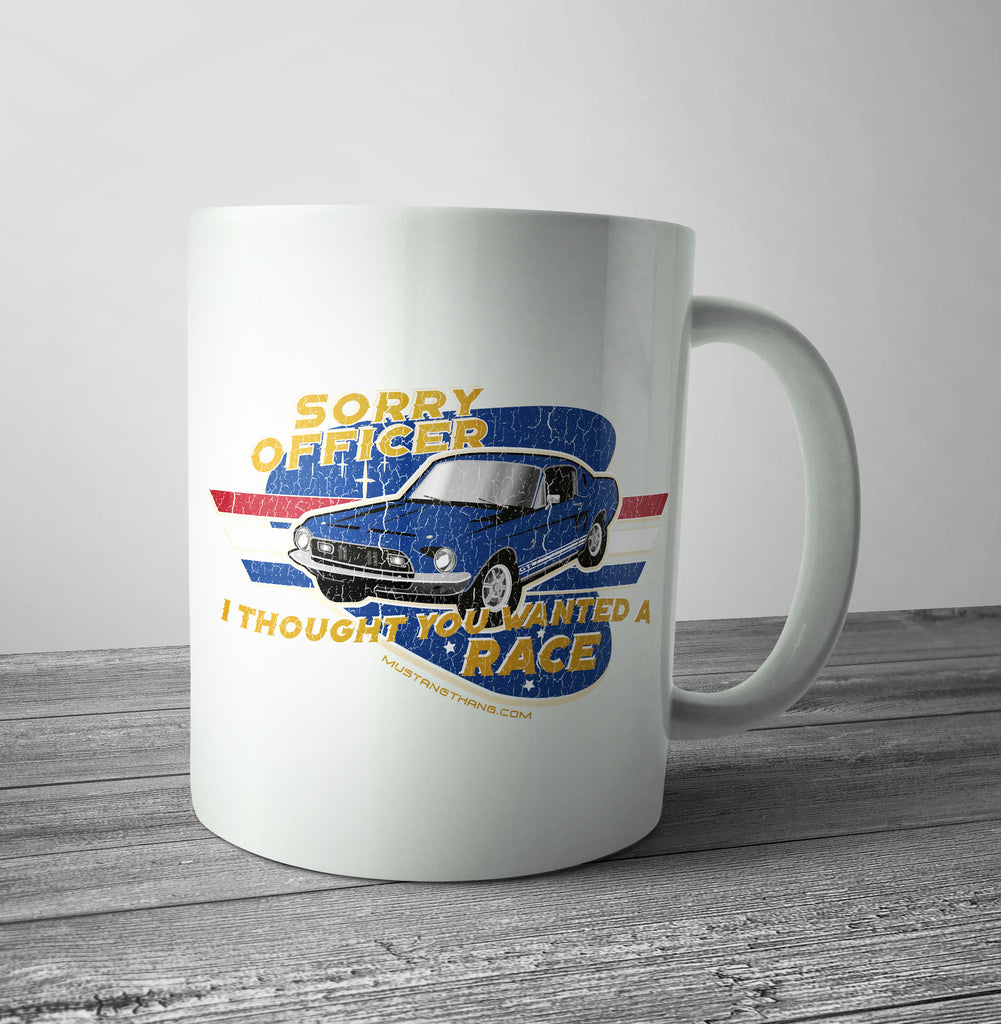 Mustang Thang Sorry Officer Blue Mug