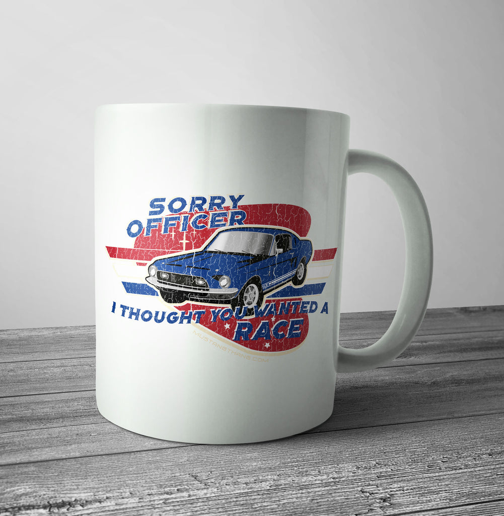 Mustang Thang Sorry Officer Red Mug - The Official Aunty Acid Store
