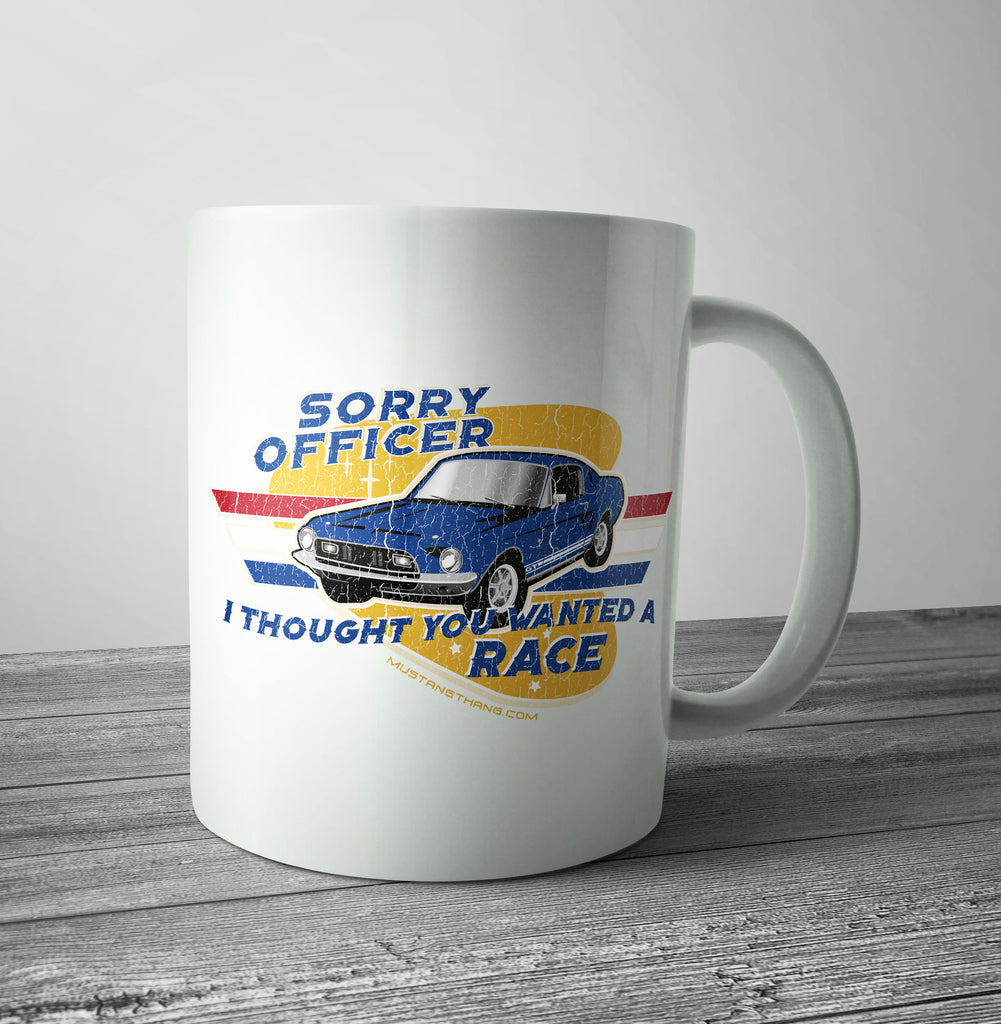 Mustang Thang Sorry Officer Yellow Mug - The Official Aunty Acid Store