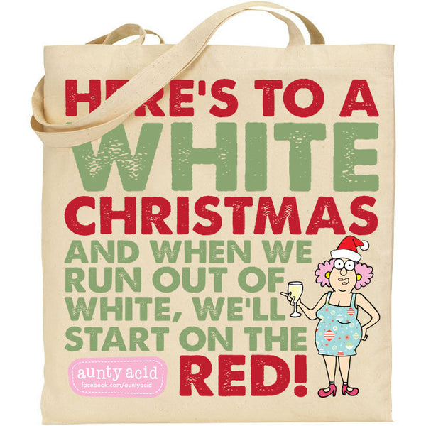 Aunty Acid White Christmas Tote Bag - The Official Aunty Acid Store