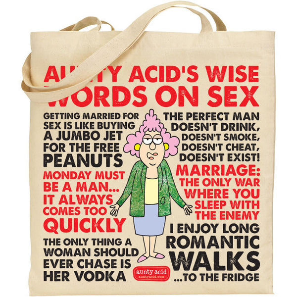 Aunty Acid Wisdom On Sex Tote Bag - The Official Aunty Acid Store