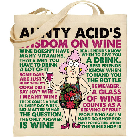 Aunty Acid Wisdom On Wine Tote Bag - The Official Aunty Acid Store